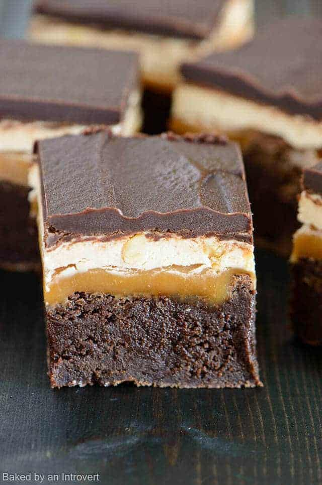 Snickers Brownies from Baked by an Introvert