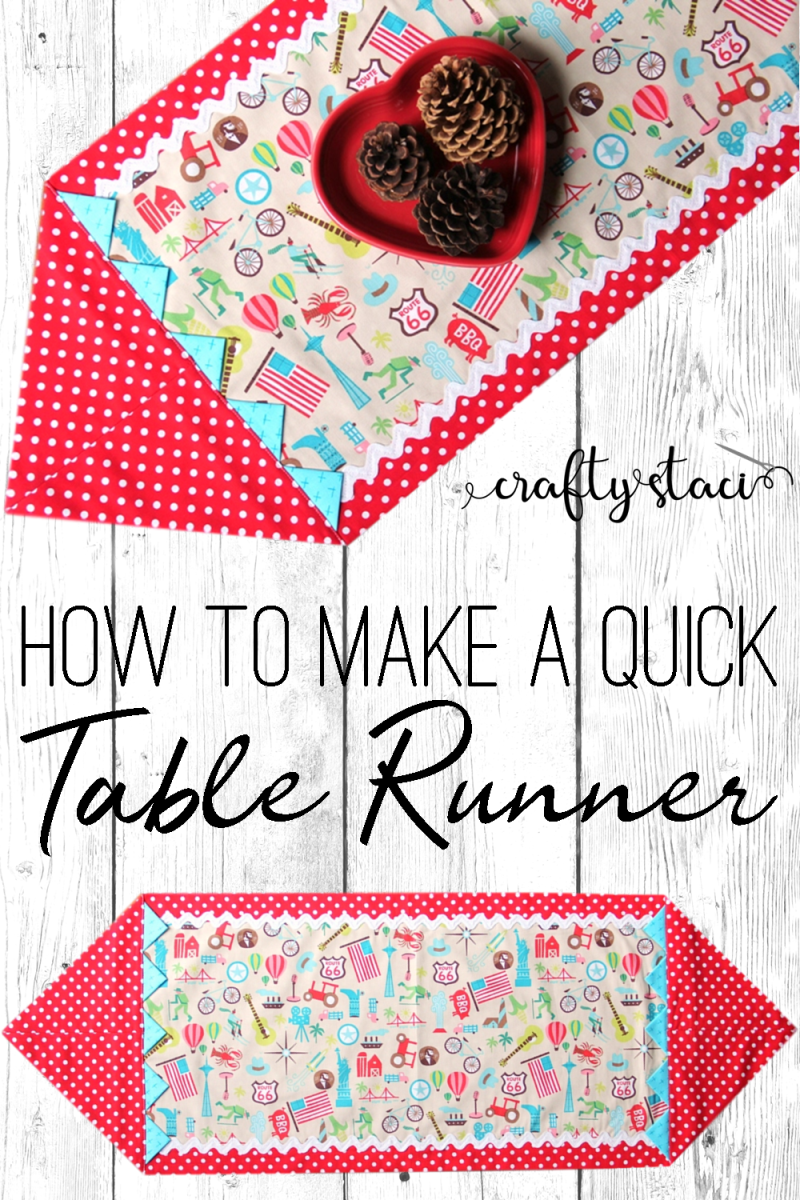How to make a quick table runner from craftystaci.com #easysewing #sewingforbeginners #tablerunner #tablecloth