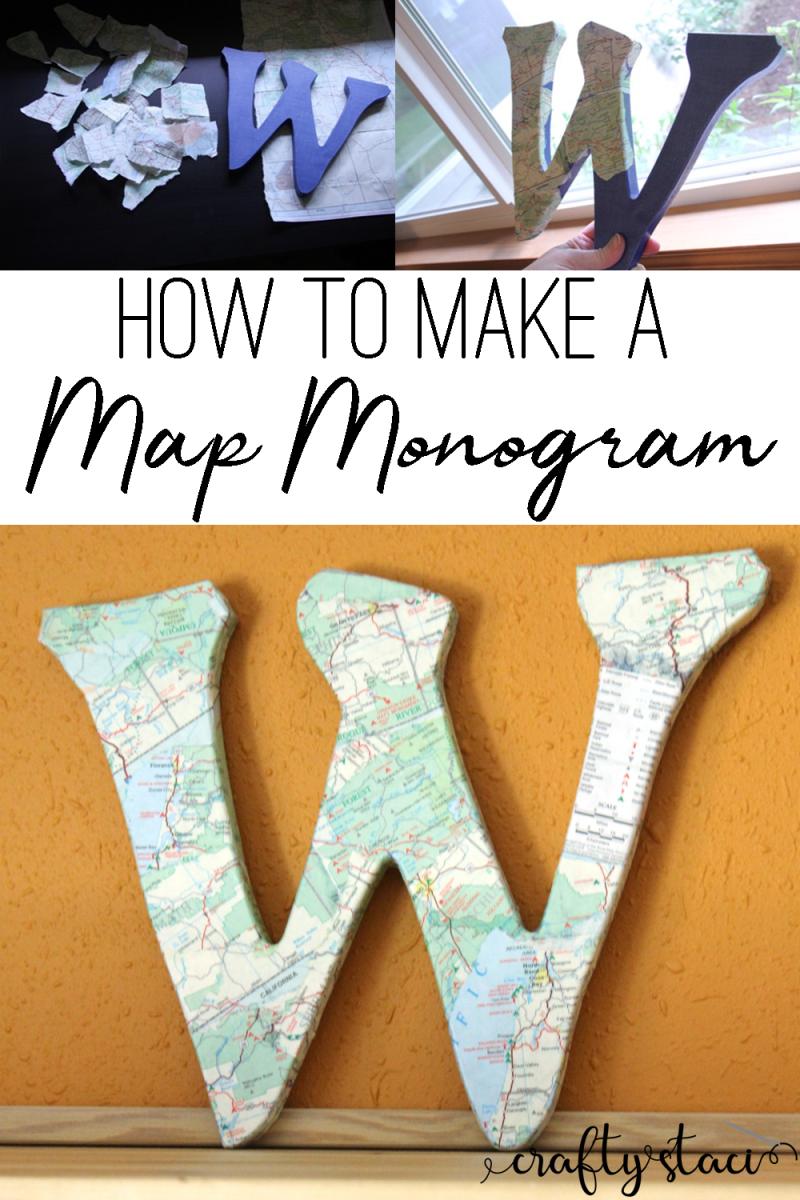 How to make a Map Monogram from craftystaci.com #homedecor #modpodge #monogram