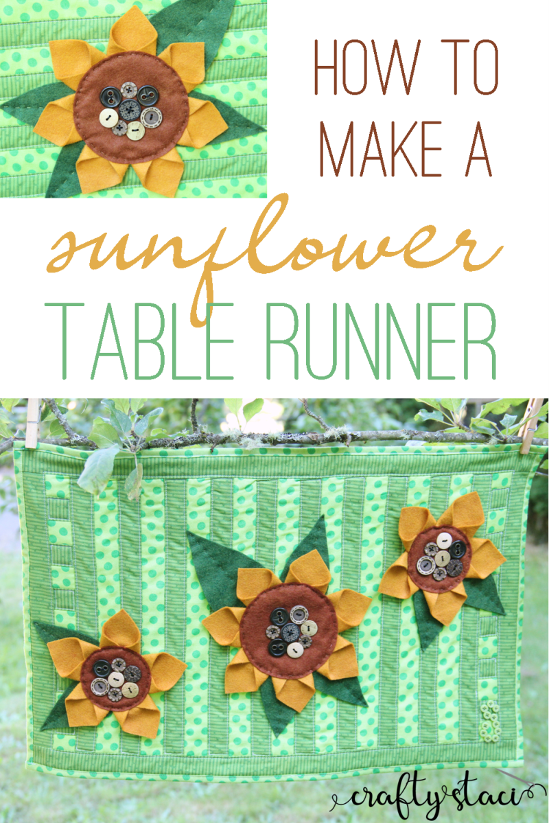 How to make a Sunflower Table Runner from craftystaci.com #sunflowers #tablerunner #tabletopper