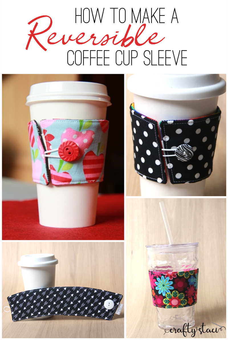 How to make a reversible coffee cup sleeve from craftystaci.com #coffeecozy #coffeecupsleeve #sewing #quickgiftstomake