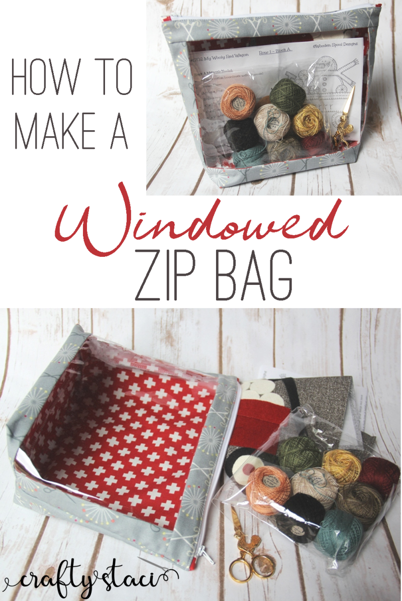 How to make a Windowed Zip Bag from craftystaci.com #sewingtutorial #bagpattern #zipperbagpattern #projectbag