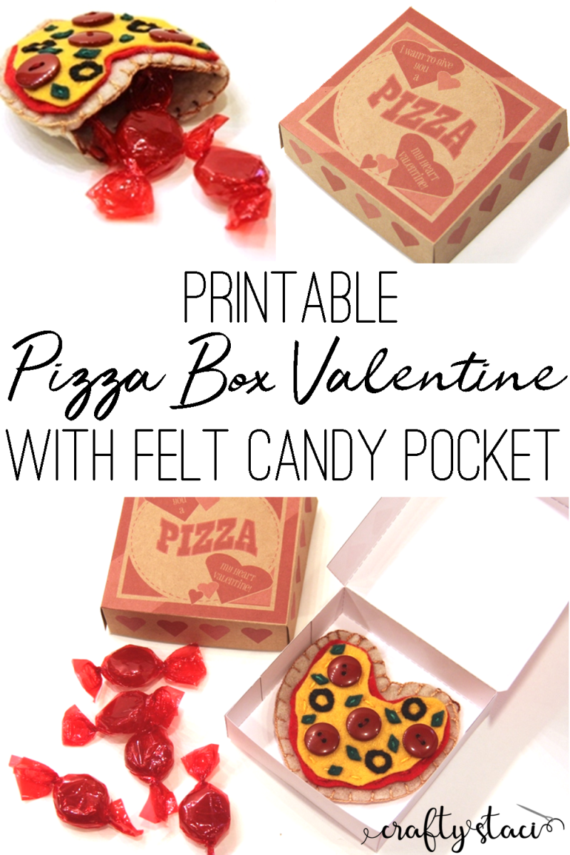 Printable Pizza Box Valentine with Felt Candy Pocket on craftystaci.com #valentinecrafts #diyvalentines #pizzaheart