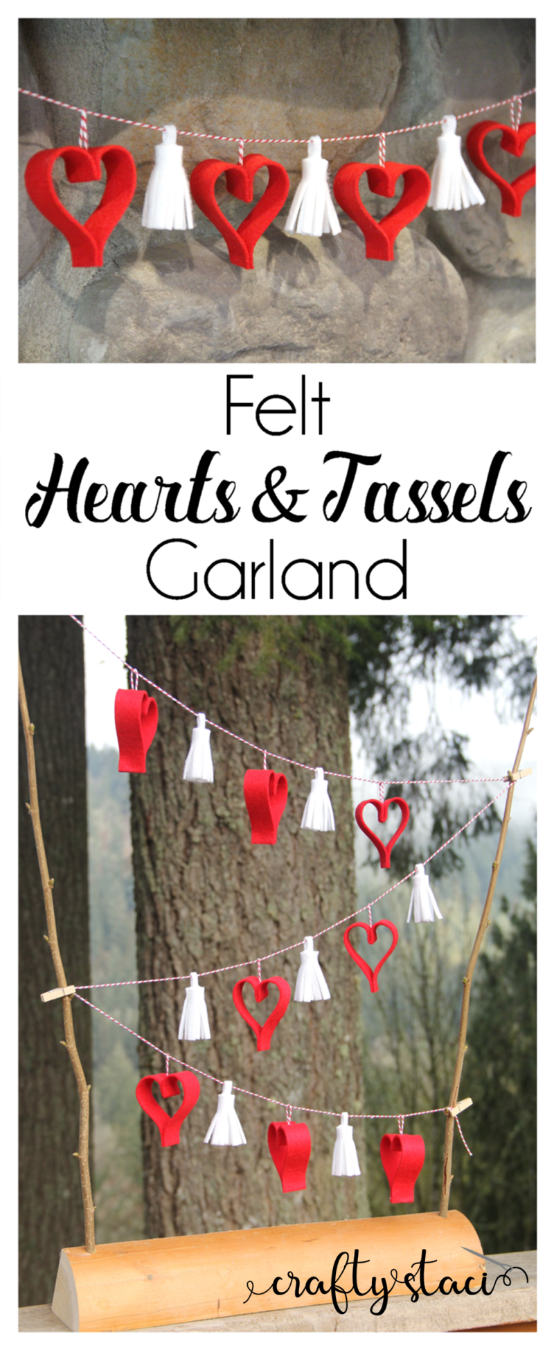 Hearts and Tassels Garland from craftystaci.com #feltcrafts #valentinecrafts #heartcrafts