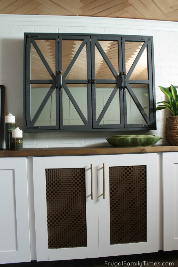 Hidden TV Cabinet with Mirrors from Frugal Family Times