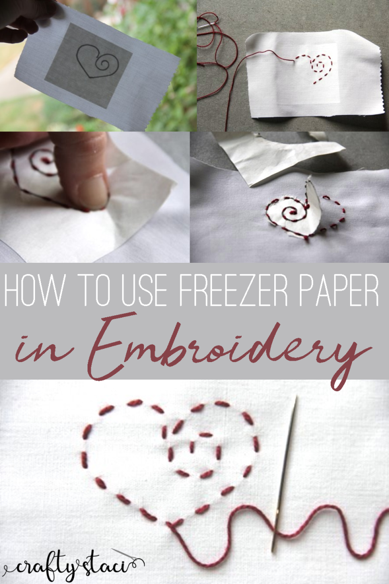 How to use freezer paper in embroidery from craftystaci.com #embroidery #freezerpaper #embroiderypatterntransfer