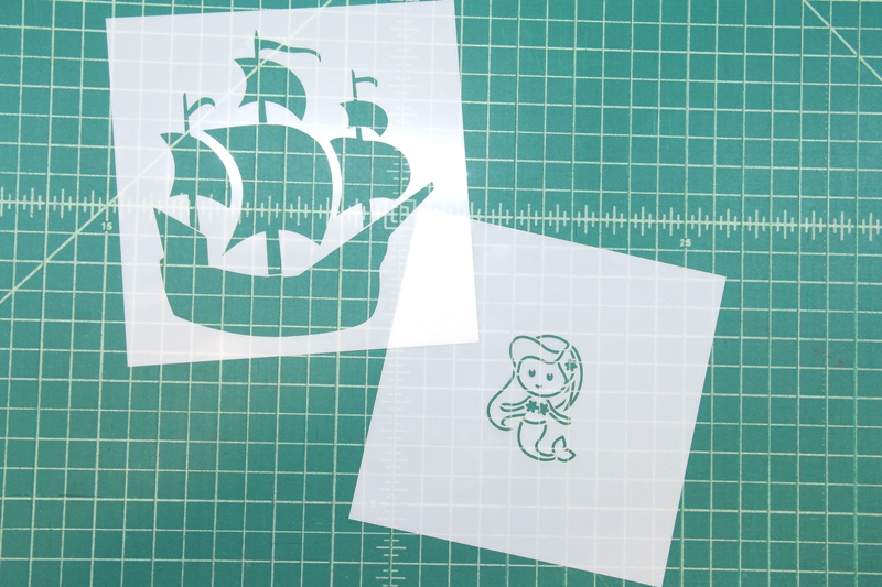 Mermaid and pirate ship stencils