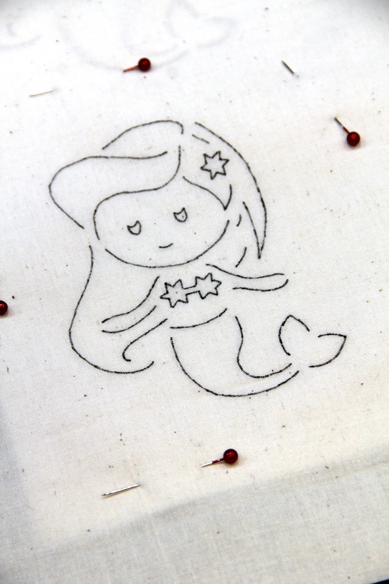 Pin fabric to mermaid pattern
