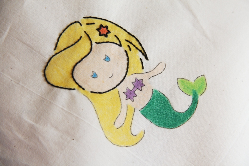 Embroidery started on mermaid