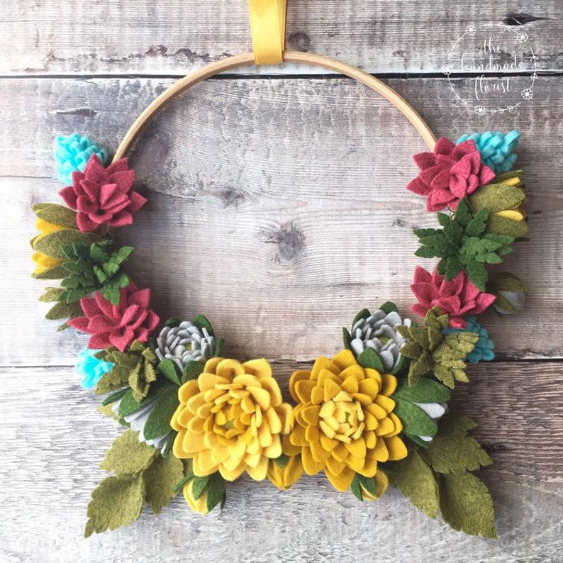 Felt Flower Wreath Tutorial from thehandmadeflorist