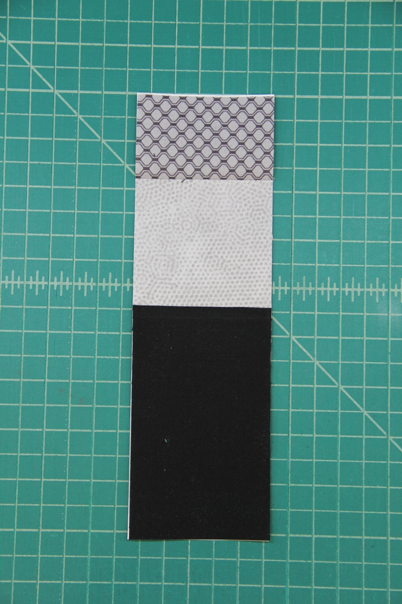 Section D sewn together and trimmed for camera quilt block