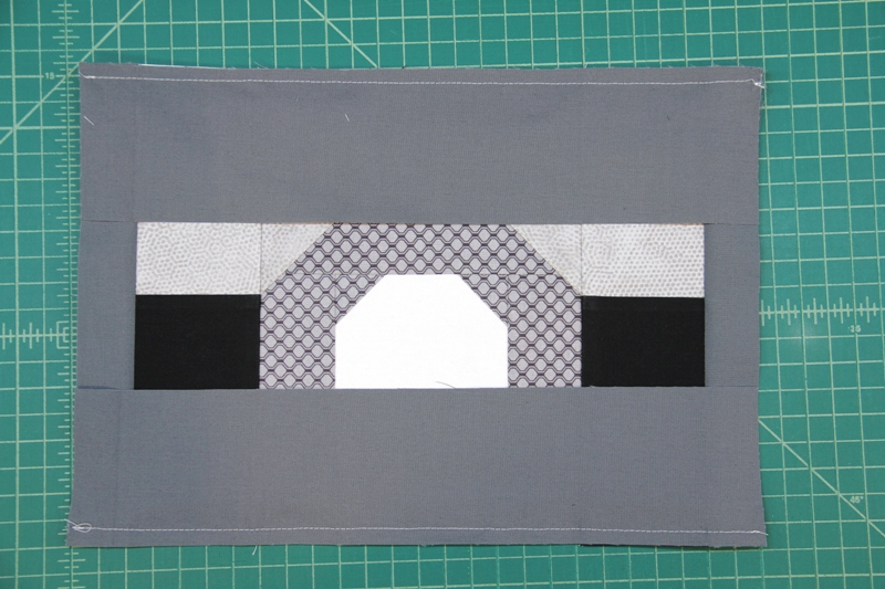 Sew on top and bottom E for camera quilt block