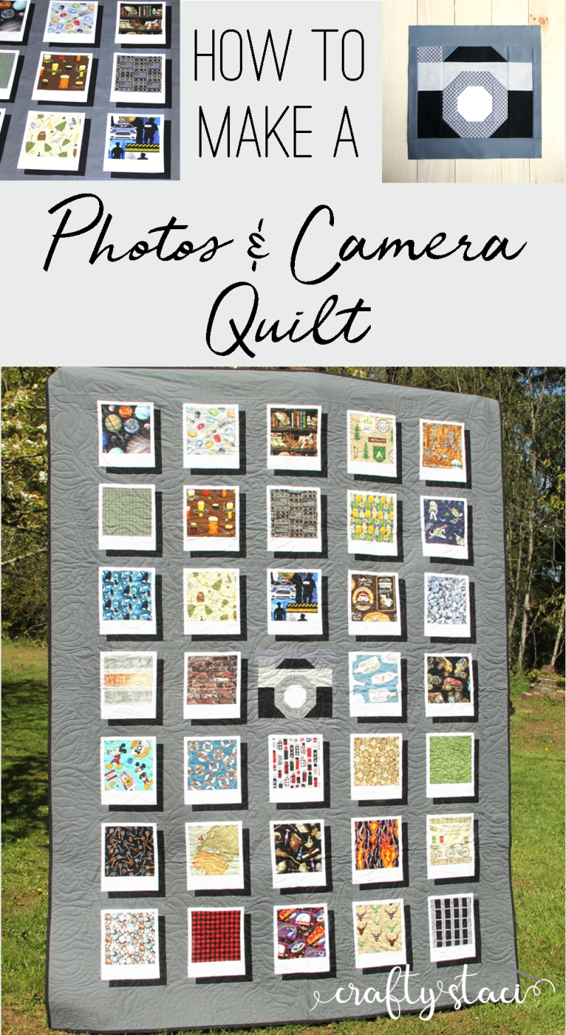 How to make a photos and camera quilt from craftystaci.com #cameraquilt #photoquilt #polaroidquilt #quiltforphotographer