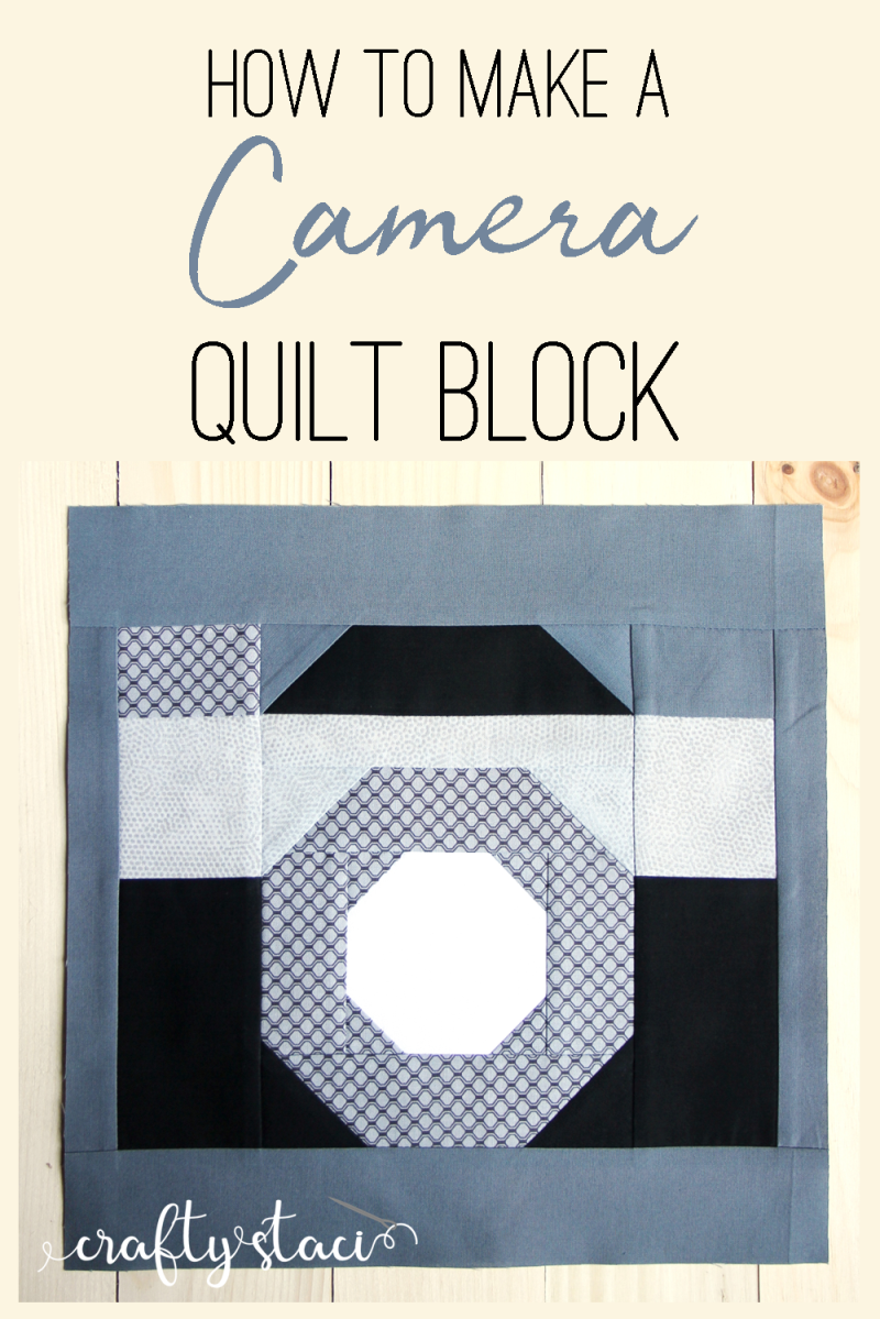 How to make a camera quilt block from craftystaci.com #cameraquilt #photoquilt #quiltforphotographer #photographerquilt