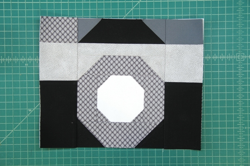 Sections A B C and D sewn together for camera quilt block