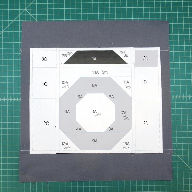 Complete square from paper side for camera quilt block