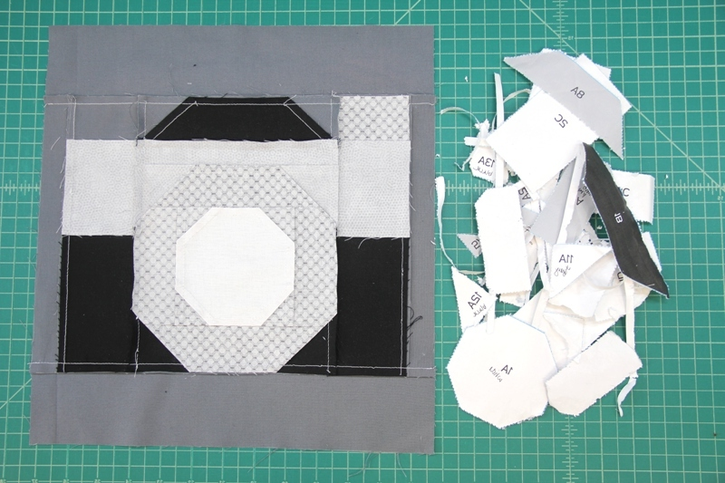 Remove paper from back for camera quilt block