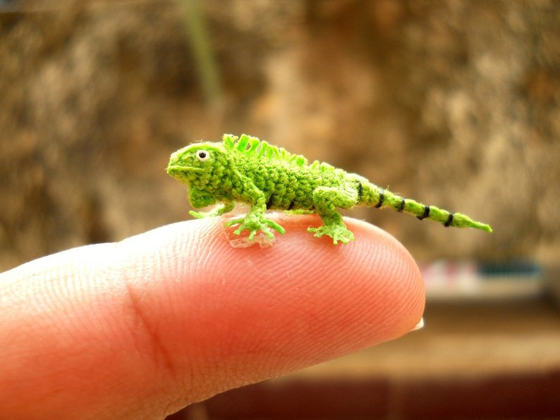 Micro Green Iguana Crochet from SuAmi