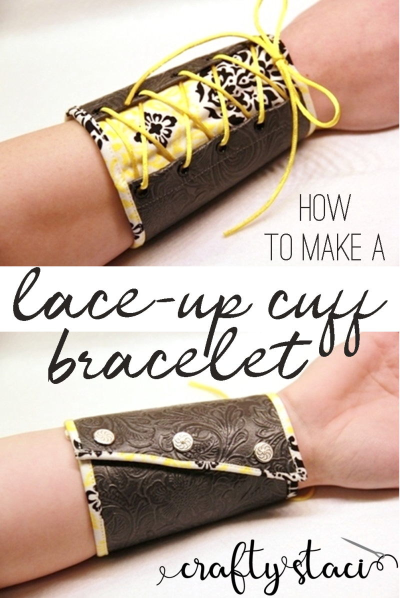 How to make a lace up cuff bracelet from craftystaci.com #diybracelet #diycuff #laceupbracelet