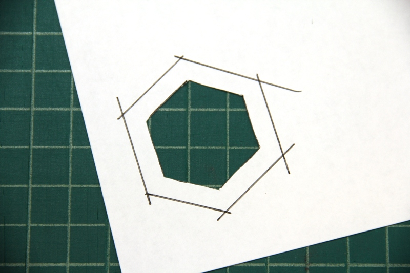 Cut out center of template for fabric hexie earrings