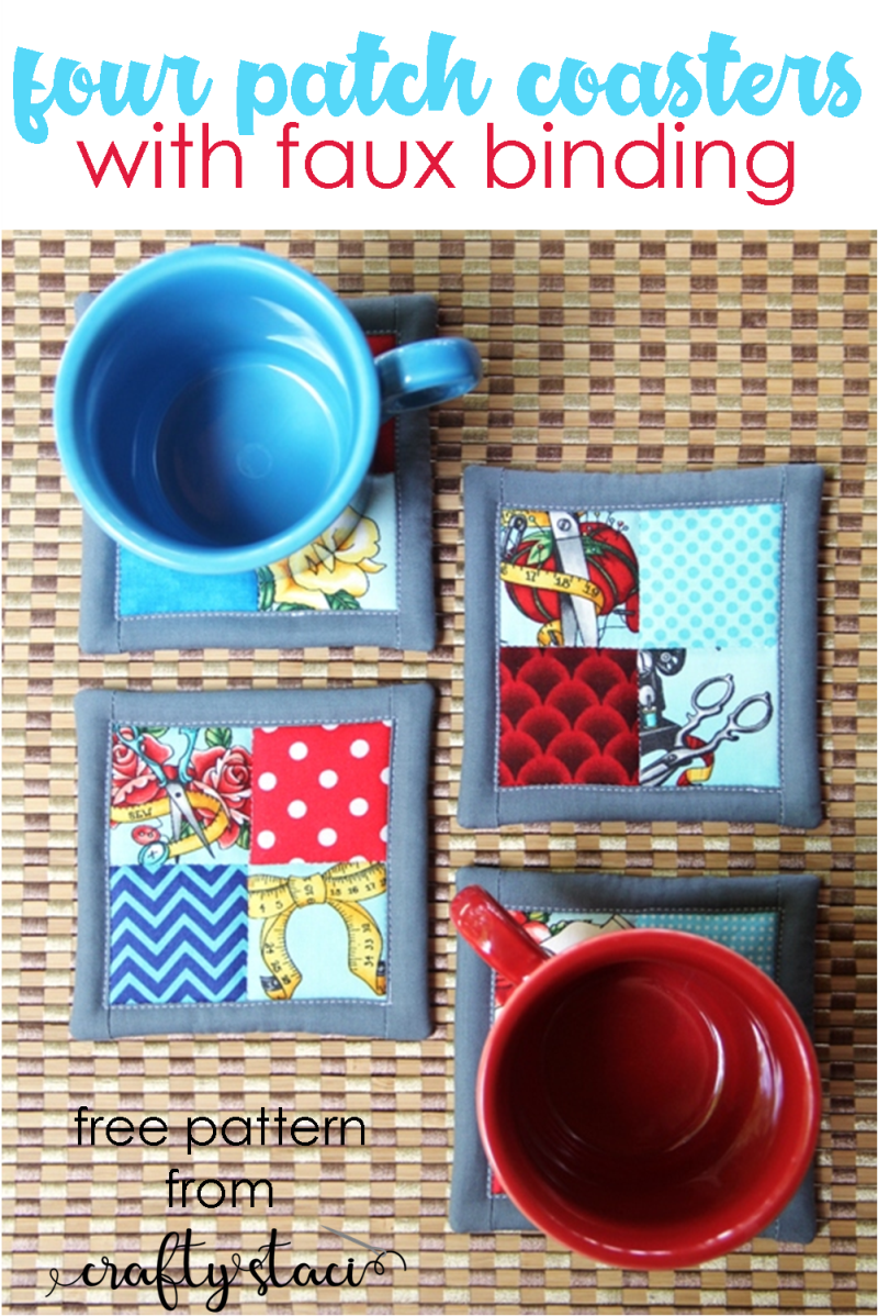 Four Patch Coasters with Faux Binding from craftystaci.com #easysewing #scrapbusters #giftstomake #diygifts