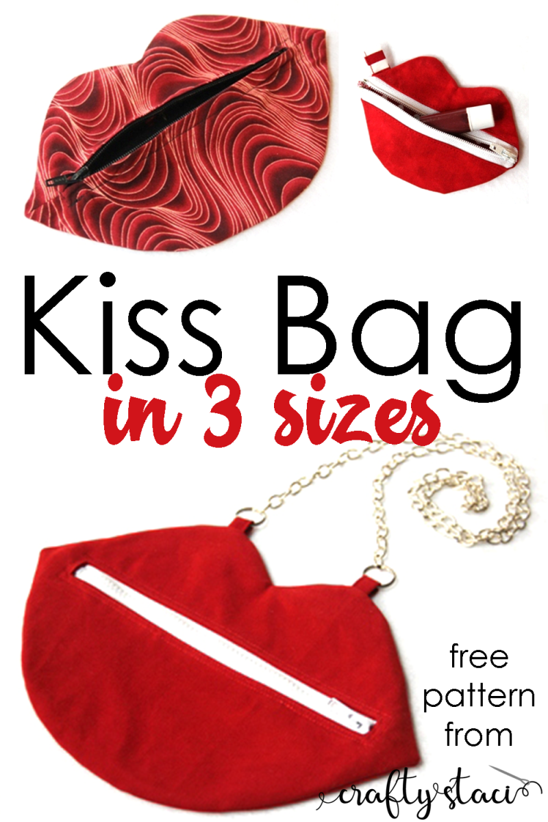 Kiss Bag - free pattern from craftystaci.com in three sizes #bagpattern #bagsewing #lipbag #sewingpattern