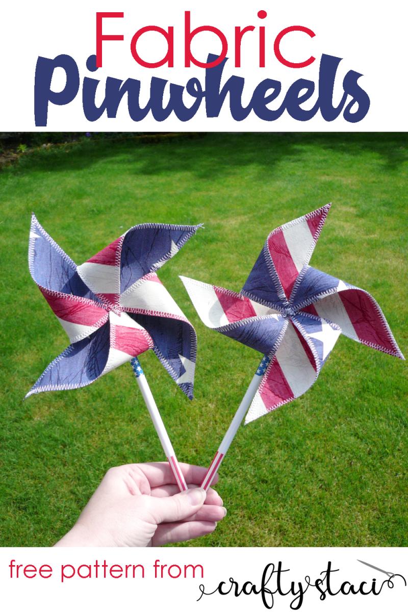 Fabric Pinwheel Pattern from craftystaci.com #pinwheels #diypinwheels #fourthofjulycrafts #redwhiteandblue