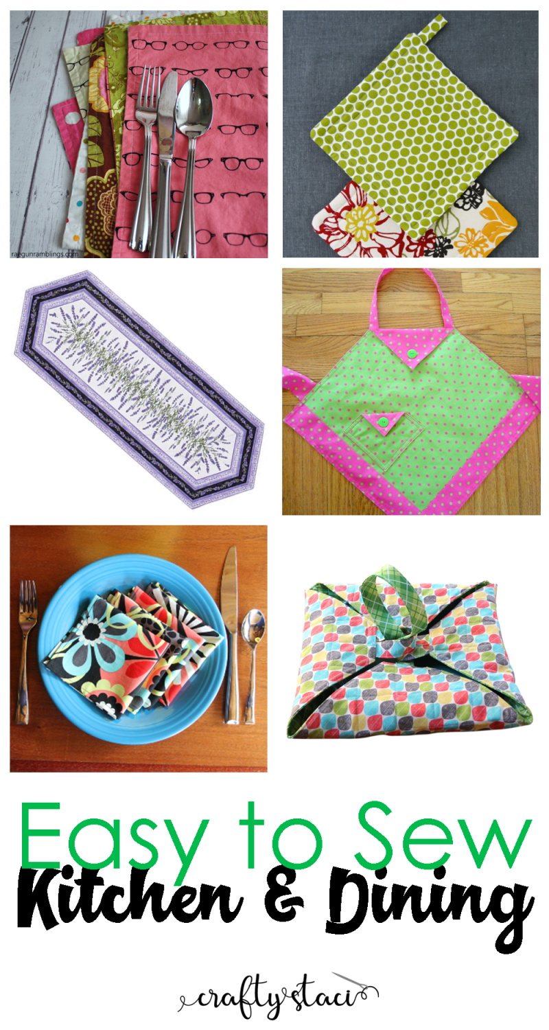 Easy to Sew Kitchen and Dining - craftystaci.com #easytosew #quicktosew #sewingforkitchen #sewingfordining