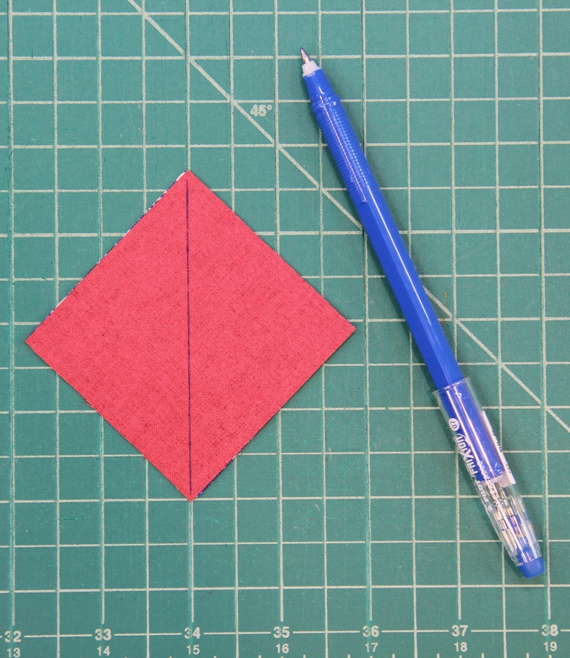Draw line to create half square triangle for Dad's BBQ Towel