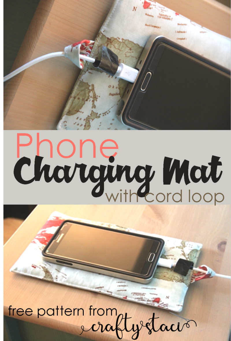 Phone Charging Mat with Cord Loop from Crafty Staci #giftstomake #easysewing #giftstomakeforhim #fathersdaygifts