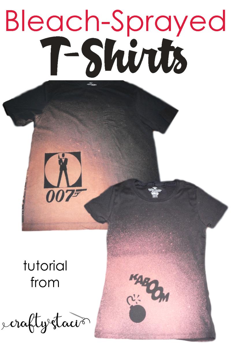 Bleach-Sprayed T-Shirt tutorial from Crafty Staci #tshirts #refashion #diytshirt #giftstomakefordad