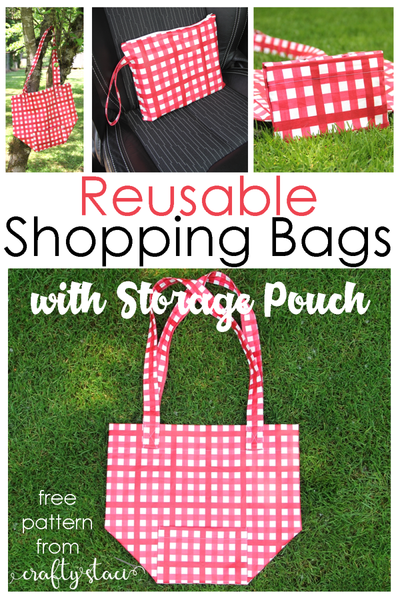 Reusable Shopping Bags with Storage Pouch - free pattern from Crafty Staci