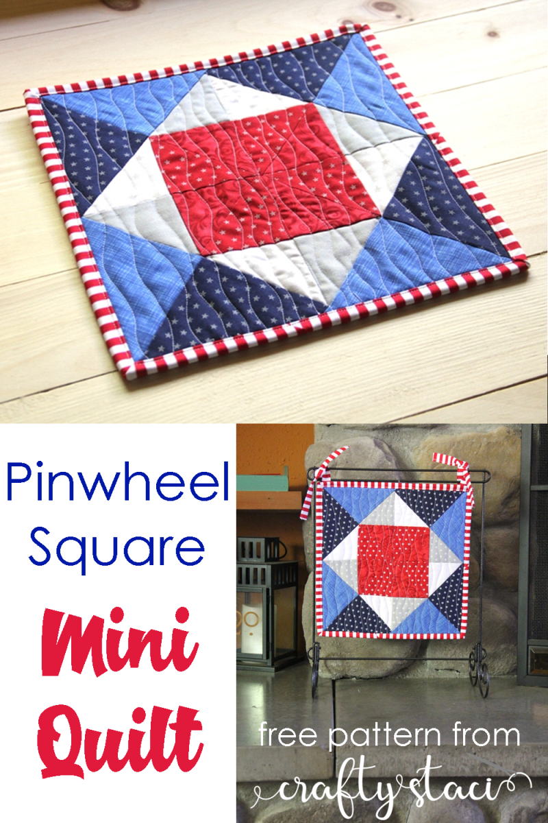 Pinwheel Square Mini Quilt from Crafty Staci #miniquilt #4thofJulyquilt #redwhiteandbluequilt