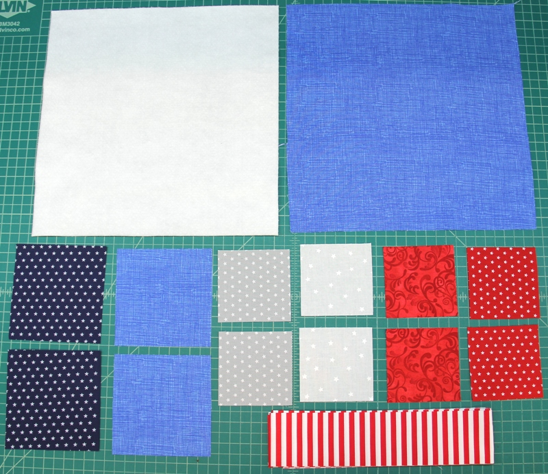 Supplies for pinwheel square mini quilt