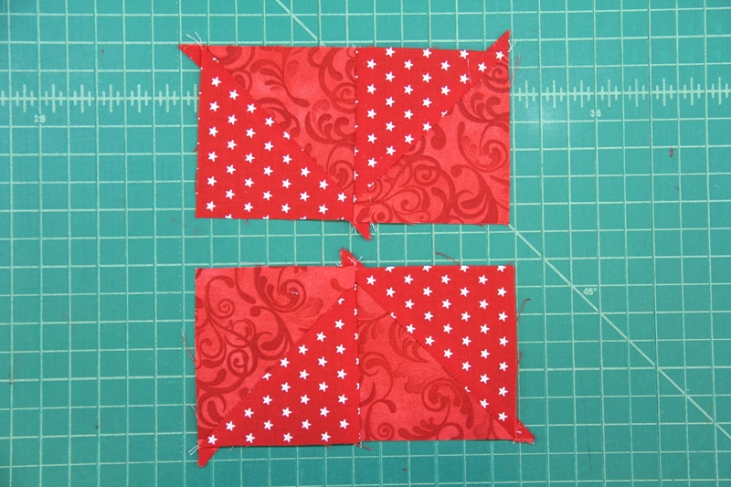 Sew red squares into two rows