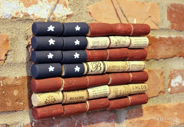 American Flag Wine Cork Upcycle from Pink Fortitude
