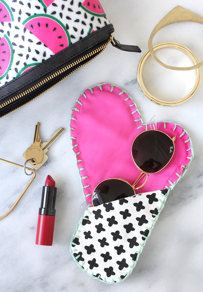 Cotton Canvas Heart Sunglasses Case from I Spy DIY