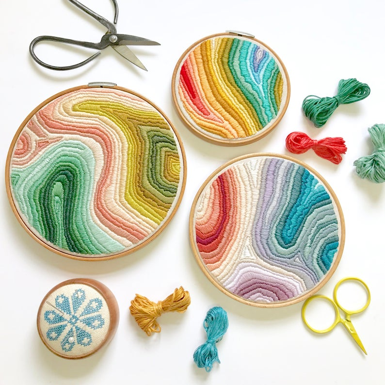 Marbled Embroidery Pattern from LarkRisingEmbroidery