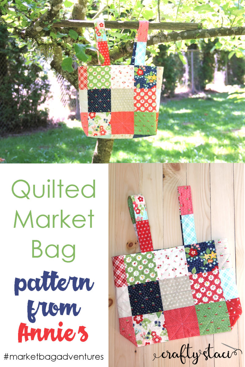 Quilted Market Bag Pattern from Annie's on Crafty Staci #marketbagadventures #marketbag #totebag #freesewingpattern