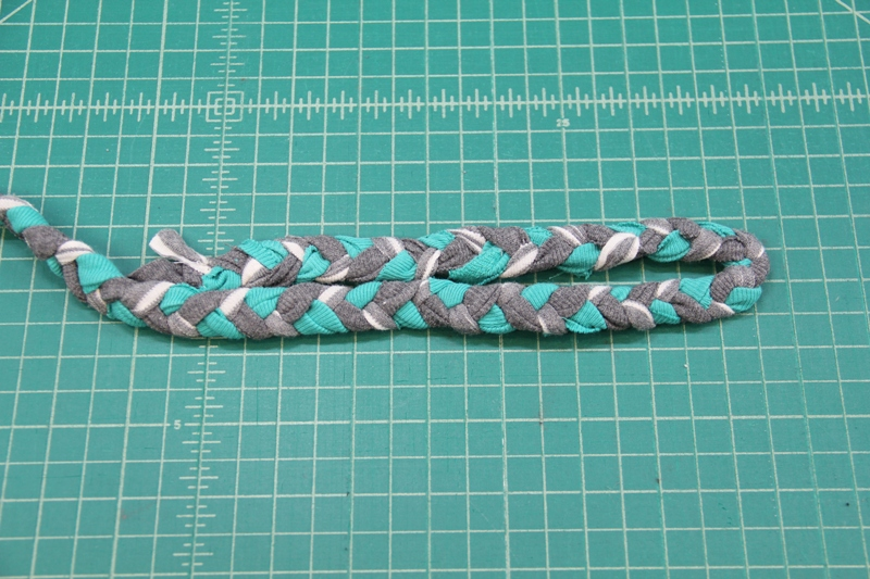 Bend braid at 8 inch mark