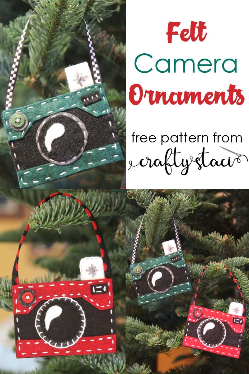 Felt Camera Ornament Pattern from Crafty Staci #feltornaments #feltcraft #cameraornament #christmas