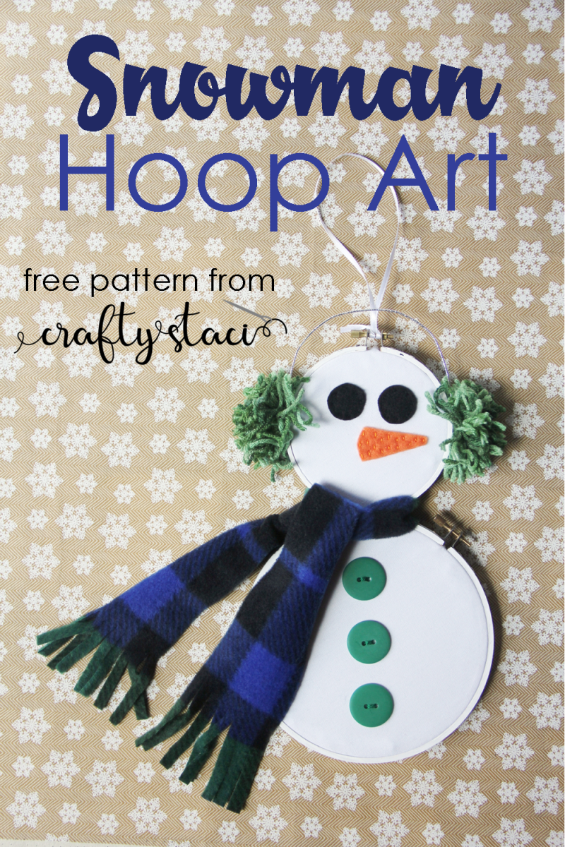 Snowman Hoop Art from Crafty Staci #hoopart #snowmancraft #nosew #embroideryhoop