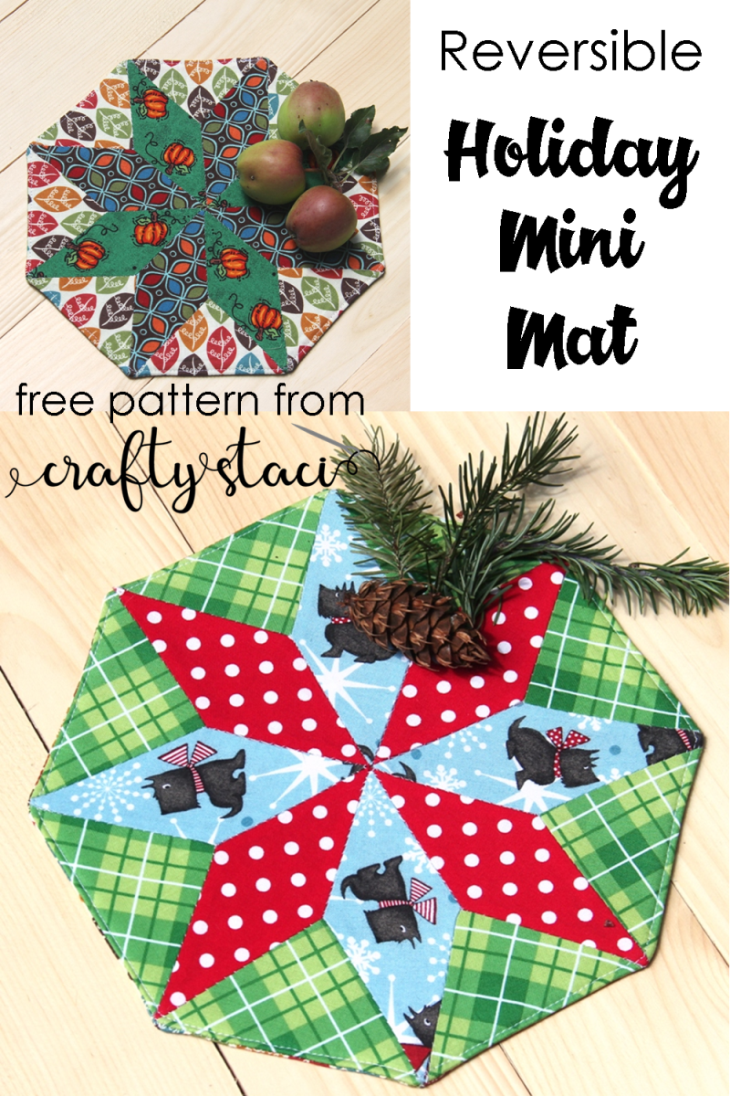 Reversible Holiday Mini Mat from Crafty Staci #christmassewing #christmasinjuly #holidaysewing #diychristmasdecor