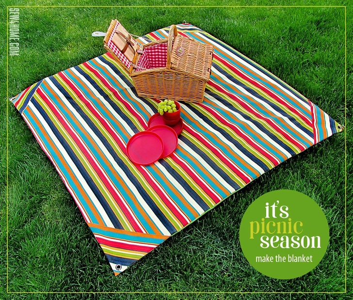 Picnic Blanket with Wind Spike Grommets from Sew4Home