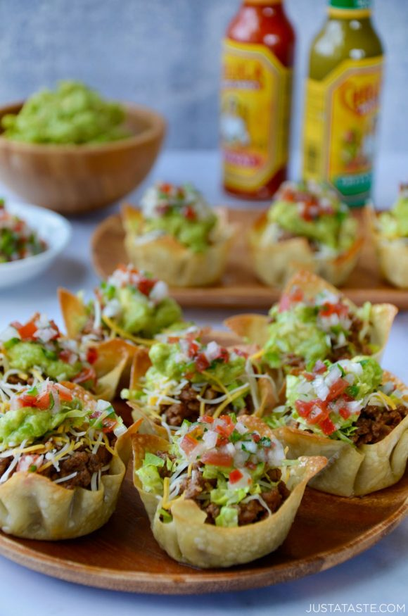 Easy Taco Salad Cups from Just a Taste