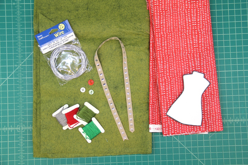 Supplies for Dress Form Ornament
