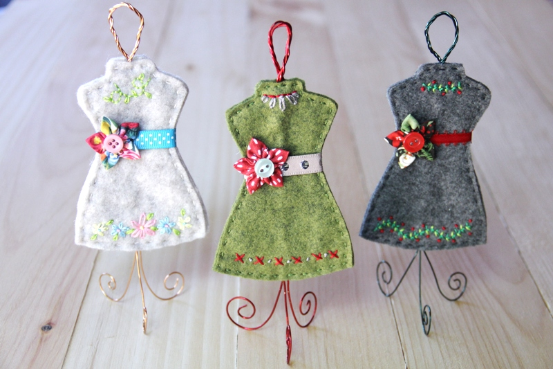Felt and Wire Dress Form Ornaments from Crafty Staci