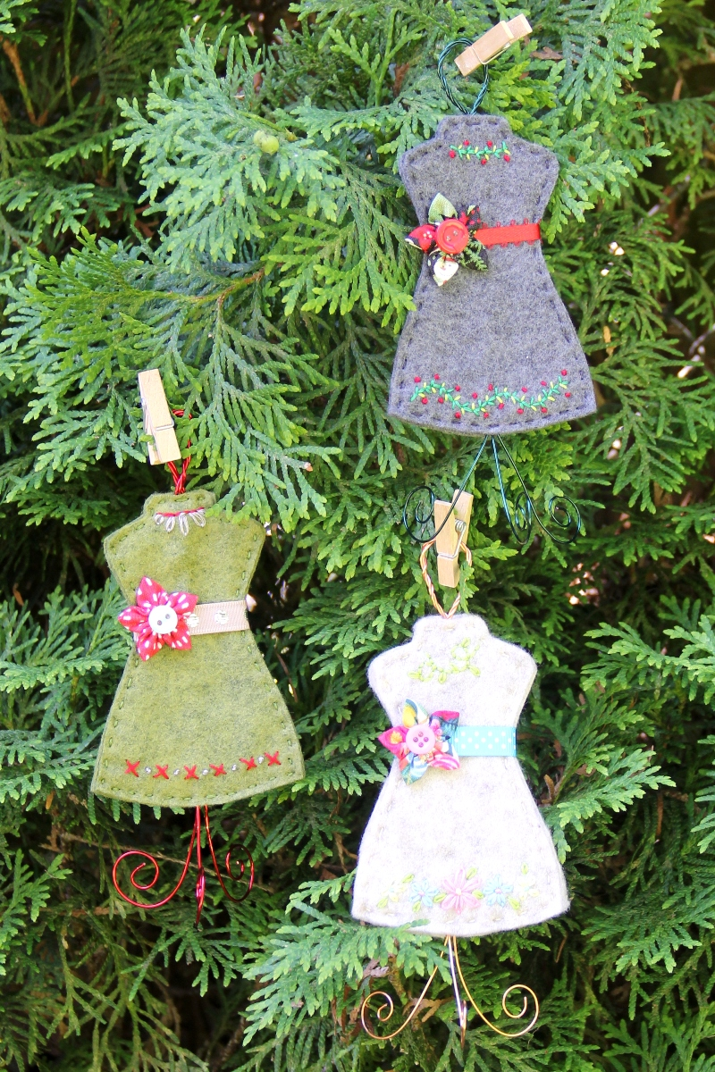 Felt Dress Form Ornaments from Crafty Staci