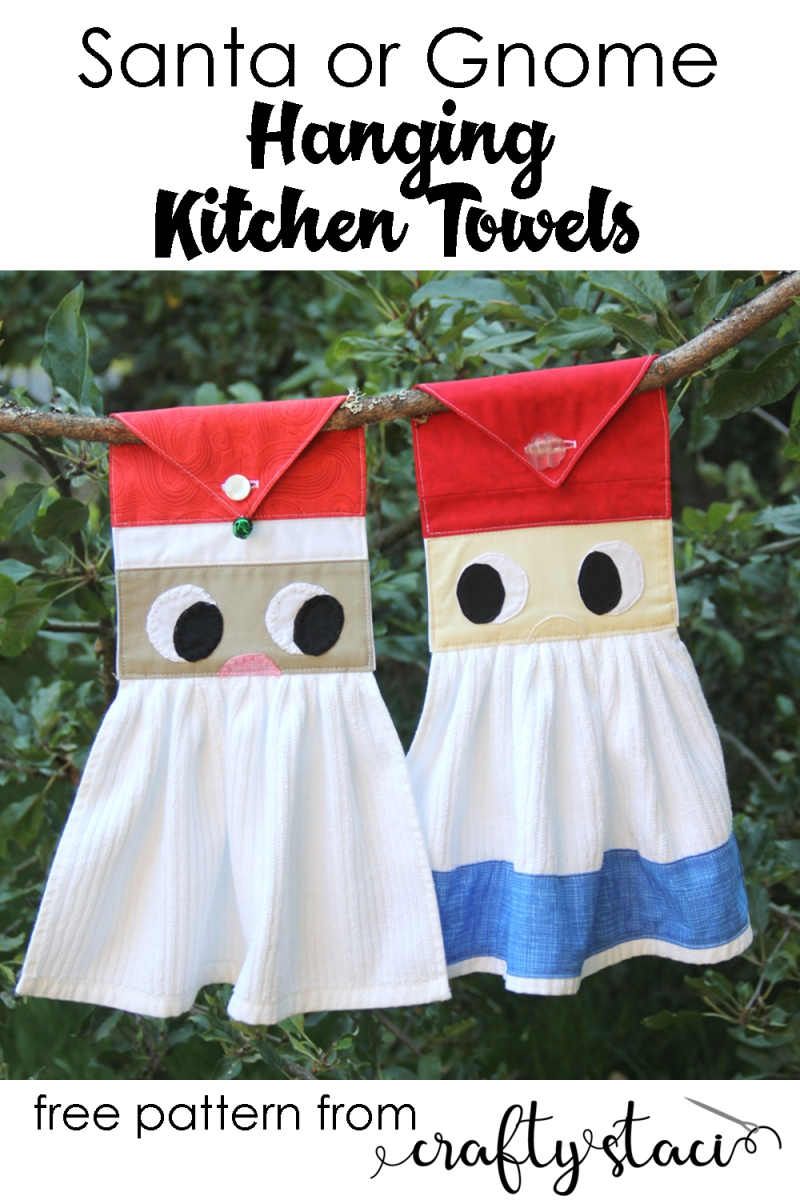 Santa or Gnome Hanging Kitchen Towels from Crafty Staci #christmasinjuly #santacrafts #gardengnome #gnomecrafts