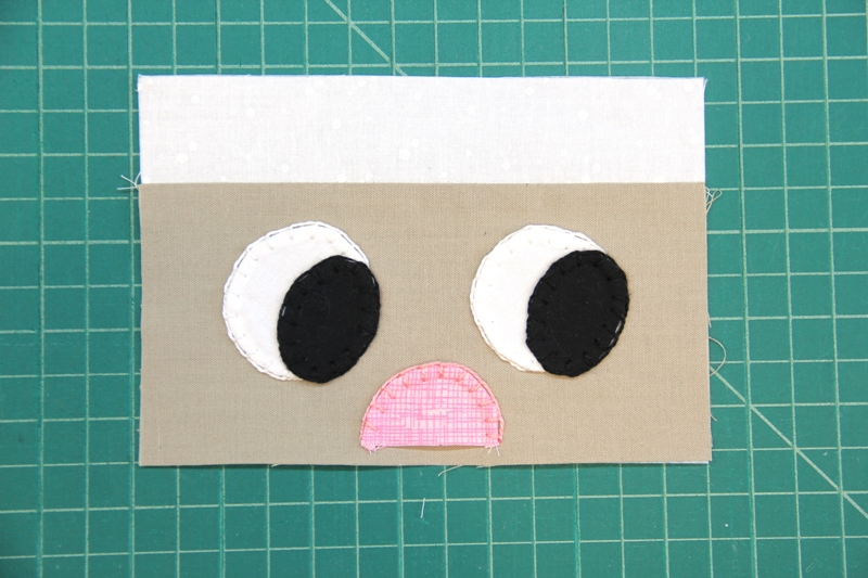Stitching around eyes and nose